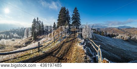 Winter Coming. Last Days Of Autumn, Morning In Mountain Countryside Peaceful Picturesque Hoarfrosted