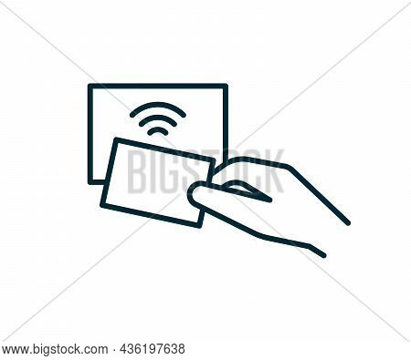Contactless Technology Payment Card For Purchases Via Nfc, Rfid, Icon Line. Wireless Pay Transaction