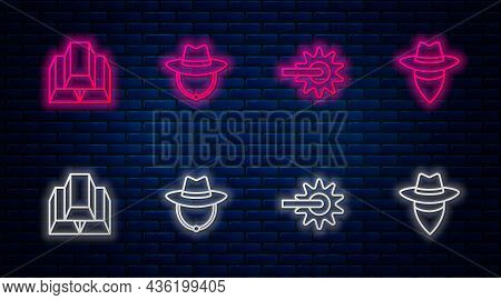 Set Line Western Cowboy Hat, Spur, Gold Bars And Cowboy. Glowing Neon Icon On Brick Wall. Vector