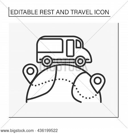Tourism Line Icon. Travel House Bus For International Journey. Movement From One Country To Another.