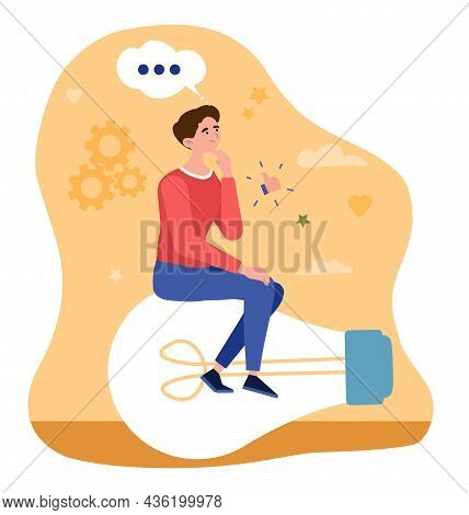 Concept Of New Idea. Man Sits On Big Light Bulb And Thinks About Solving Problem And Promoting Busin