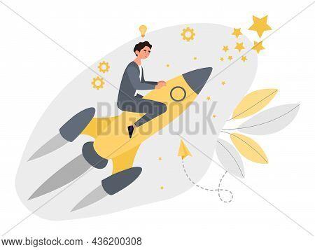 Businessman On Rocket. Concept Of Successful Project, Right Choice, Wise Investments. Income Grows,