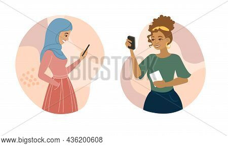 Woman Using Mobile. Two Friends Talking On Smartphone. Call, Communication. Girl Writes Sms, Urgent