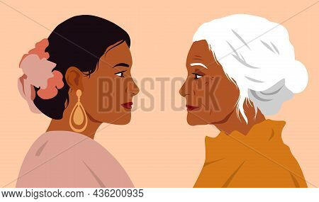 Two Strong Women. Mom And Daughter Look Into Each Others Eyes. Indian Women, Respect For Elders. Eye