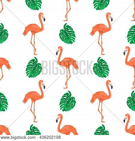 Seamless Pattern With Flamingo Bird And Tropical Leaves. Repeated Tropical Background. Flat Vector I