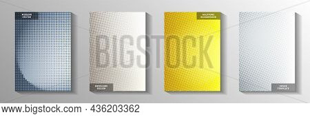 Cool Circle Faded Screen Tone Front Page Templates Vector Collection. Scientific Booklet Perforated