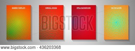 Colorful Circle Screen Tone Gradation Title Page Templates Vector Kit. Geometric Booklet Faded