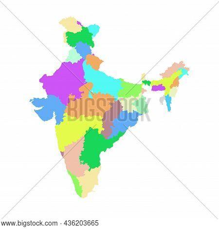 Political Map Of India Isolated Illustration On White Background
