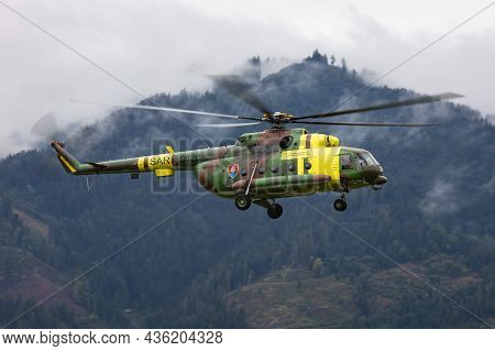 Zeltweg, Austria - September 6, 2019: Military Helicopter At Air Base. Air Force Flight Operation. A