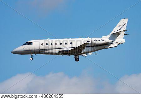 Frankfurt, Germany - August 12, 2014: Business Jet Passenger Plane At Airport. Corporate Flight Trav