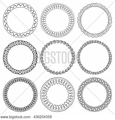 Vector Illustration. Set Of Round Black Ink Frames Isolated On Background. Hand-drawn Jagged, Rough