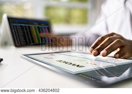 Invoice Accounting Software On Computer. Digital Business Bill