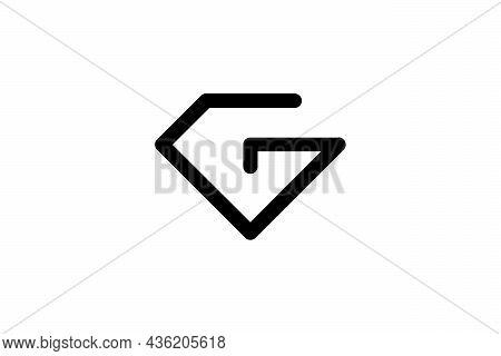 Letter G Logo Diamond Shape. Line Art Design Concept Template. On White Background.