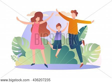 Healthy Family Walking. Father, Mom And Son Walking In Park In Good Weather. Summer, Spring. Taking