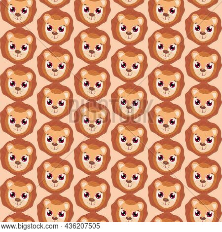 Cute Lion Cub, Seamless Pattern On A Children's Theme In Cartoon Style, Vector