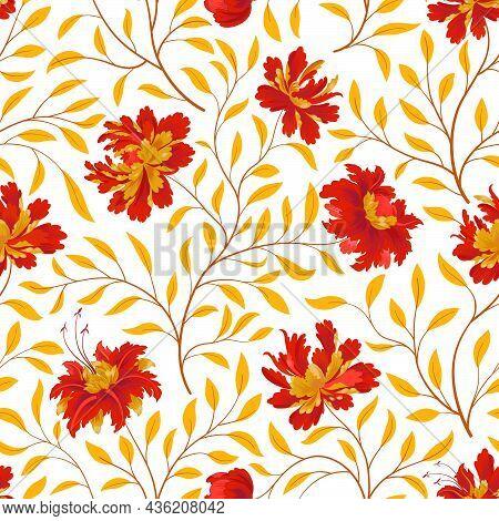 Floral Pattern. Flower Seamless Background. Flourish Ornamental Fall Garden Texture. Orient Ornament
