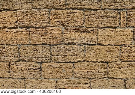 Coquina, Shell House Limestone Wall Textured Background.