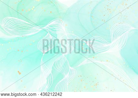 Pastel Cyan Mint Liquid Marble Watercolor Background With Wavy Lines And Gold Brush Stains. Teal Tur