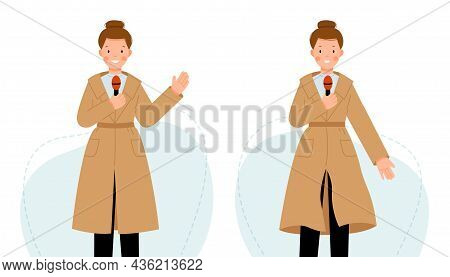 The Reporter Tells The News Into The Microphone. Two Scenes With A Journalist Woman. Girl In A Beige