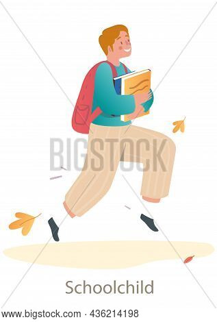 Little Smiling Boy Is Running To School On White Background. Concept Of Students And Little Pupils W