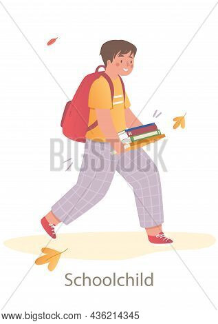 Young Smiling Schoolchild Is Walking To School With Books And Backpack. Students And Little Pupils W