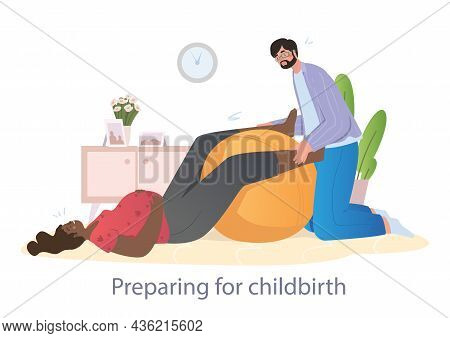 Husband Helps His Wife To Prepare For Childbirth. Concept Of Women Trying To Prepare For Childbirth