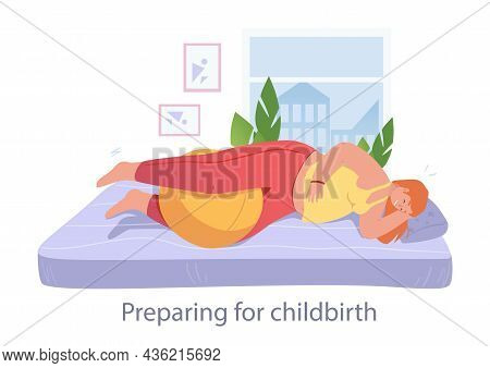 Woman Is Laying In Bed With Ball To Prepare For Childbirth. Concept Of Women Trying To Prepare Thems