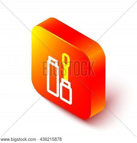 Isometric Line Mascara Brush Icon Isolated On White Background. Orange Square Button. Vector