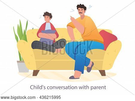 Father Is Spending Happy Time Together With His Teenager Son At Home. Concept Of Family Relations, P
