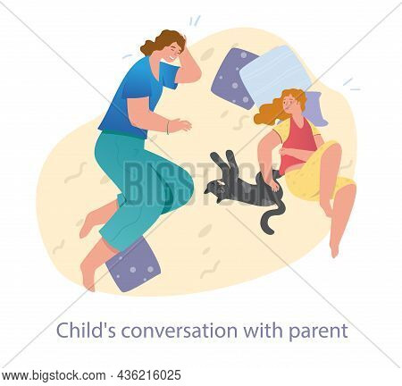 Smiling Mother Is Spending Leisure Time With Her Teenager Daughter At Home. Family Relations, Parent