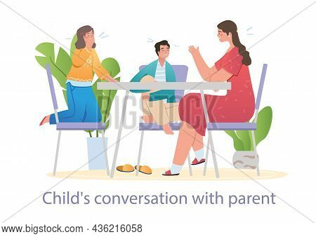 Cheerful Mother Is Spending Time With Her Teenager Son And Daughter At Home. Family Relations, Paren