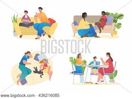 Set With Children And Parents Spending Time Together At Home. Father And Mother Are Talking To Son O