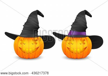 Vector Glossy Cartoon Halloween Pumkin Lantern With Funny Face And Witch Hat Icon Set Closeup Isolat