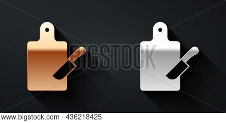 Gold And Silver Cutting Board And Knife Icon Isolated On Black Background. Chopping Board Symbol. Cu