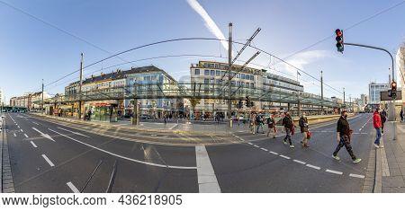 Bonn, Germany, November 18, 2020: People Crossing The Main Street At Bertha Von Suttner Square In  B