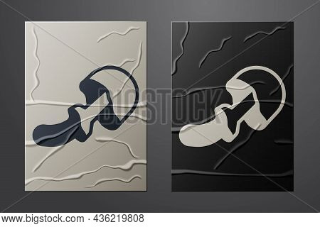 White Psilocybin Mushroom Icon Isolated On Crumpled Paper Background. Psychedelic Hallucination. Pap