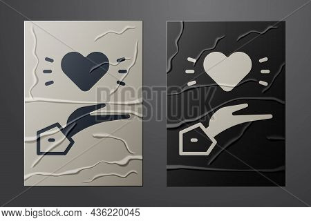 White Pleasant Relationship Icon Isolated On Crumpled Paper Background. Romantic Relationship Or Ple