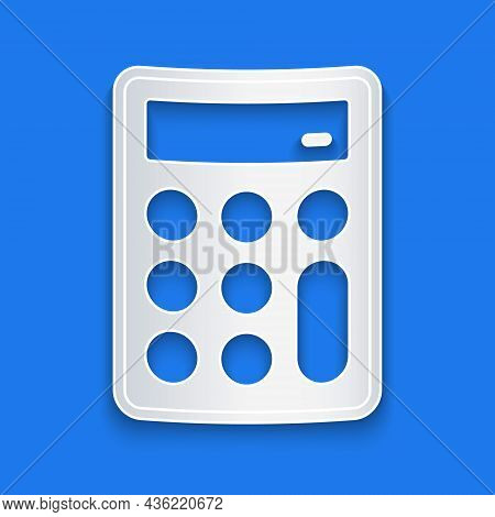 Paper Cut Calculator Icon Isolated On Blue Background. Accounting Symbol. Business Calculations Math