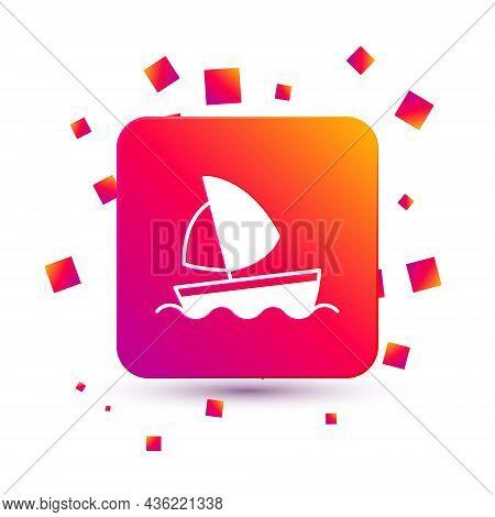 White Yacht Sailboat Or Sailing Ship Icon Isolated On White Background. Sail Boat Marine Cruise Trav