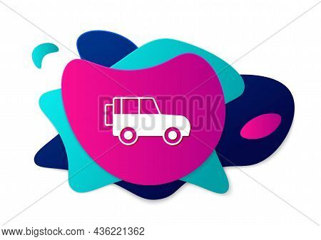 Color Off Road Car Icon Isolated On White Background. Abstract Banner With Liquid Shapes. Vector
