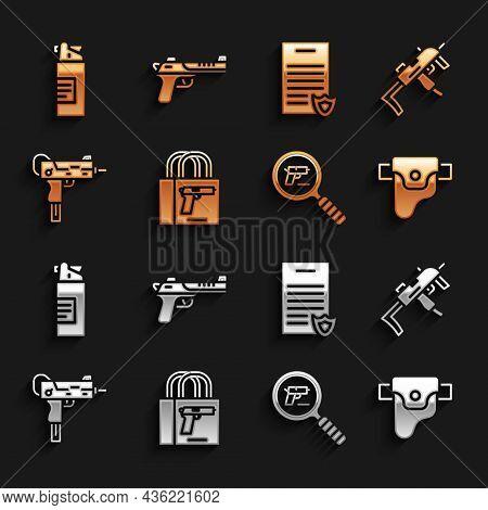 Set Buying Gun Pistol, Mp9i Submachine, Gun Holster, Pistol Or Search, Uzi, Firearms License Certifi