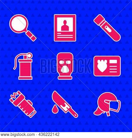 Set Balaclava, Bloody Knife, Police Helmet, Badge With Id Case, Electric Shocker, Hand Smoke Grenade