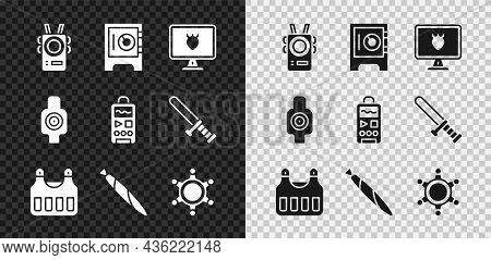 Set Police Body Camera, Safe, Database, Bulletproof Vest, Marijuana Joint, Hexagram Sheriff, Human T