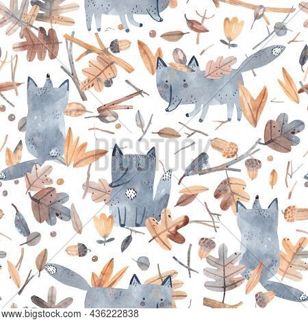 Watercolor forest in autumn. Cubs in dry foliage. Watercolor autumn. Cute seamless pattern with wolf, dry twigs and leaves. Perfect for fabric, textile, apparel.