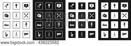 Set Music Note, Tone, Guitar, Drum Sticks, Microphone, Maracas, And Sound Mixer Controller Icon. Vec