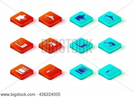 Set Oven, Knife, Microwave Oven, Cooking Pot, And Cutting Board And Knife Icon. Vector