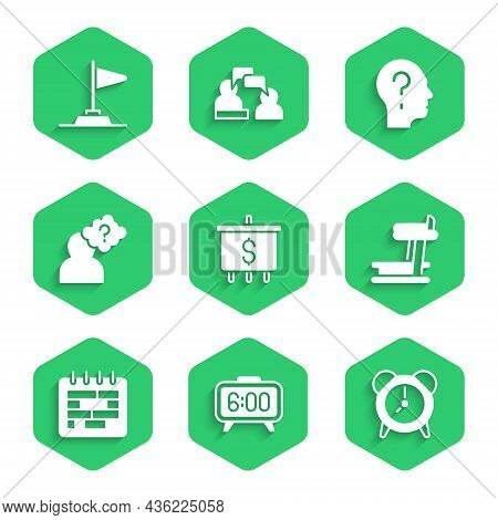 Set Target With Dollar, Digital Alarm Clock, Alarm, Treadmill Machine, Calendar, Head Question Mark,