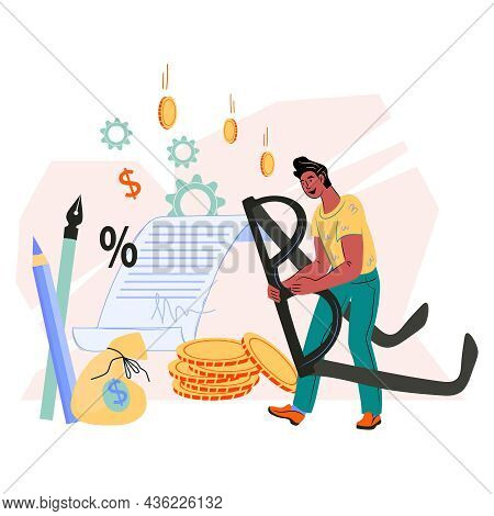 Businessman Signing Up Contract Or Business Agreement, Partnership Deal, Flat.