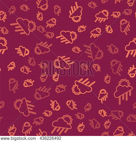 Brown Line Cloud With Rain And Sun Icon Isolated Seamless Pattern On Red Background. Rain Cloud Prec