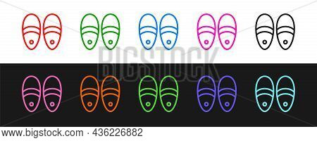 Set Line Slippers Icon Isolated On Black And White Background. Flip Flops Sign. Vector